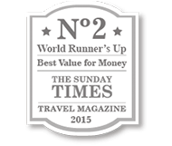 No. 2 World Runner's Up - Best Value for Money - The Sunday Times - Travel Magazine 2015